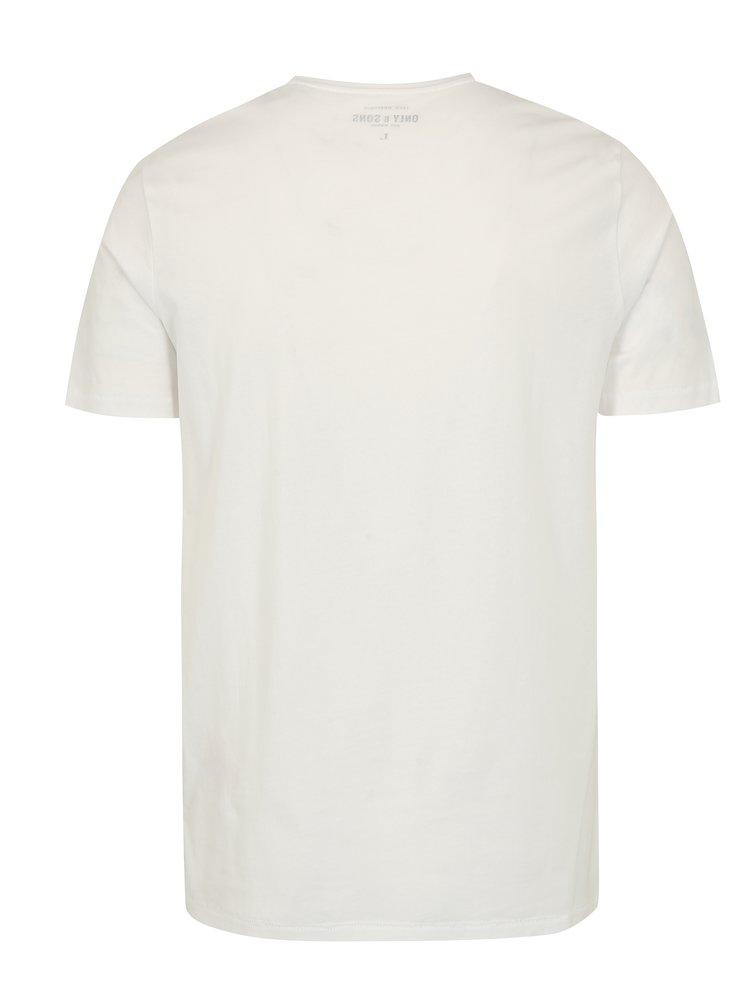 Bílé tričko s potiskem ONLY & SONS Sylvester