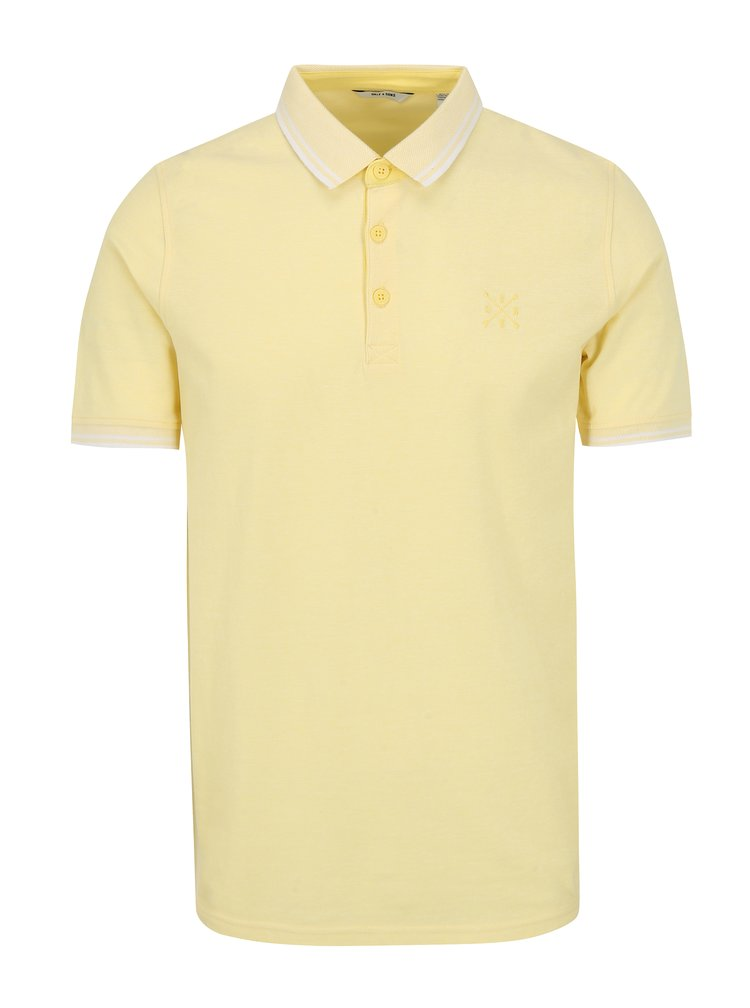 Tricou polo galben cu broderie ONLY & SONS Stan