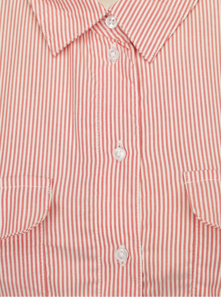 Krémovo-červené pruhované košilové šaty Jacqueline de Yong Beach