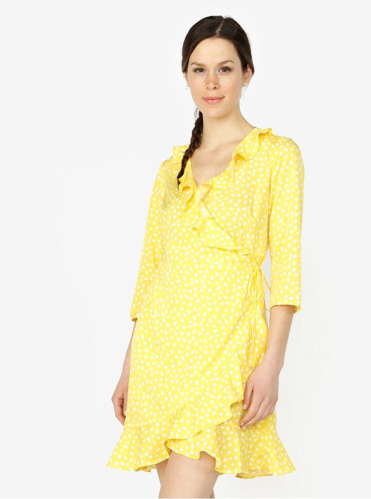 Žluté vzorované zavinovací šaty s volány VERO MODA Henna
