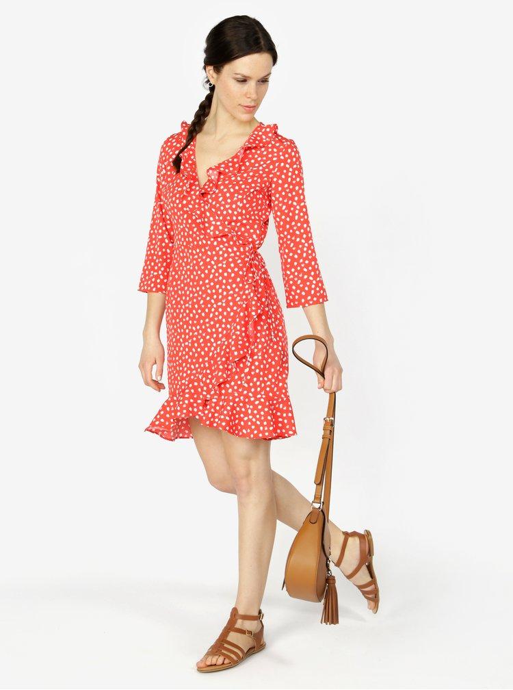 Červené vzorované zavinovací šaty s volány VERO MODA Henna