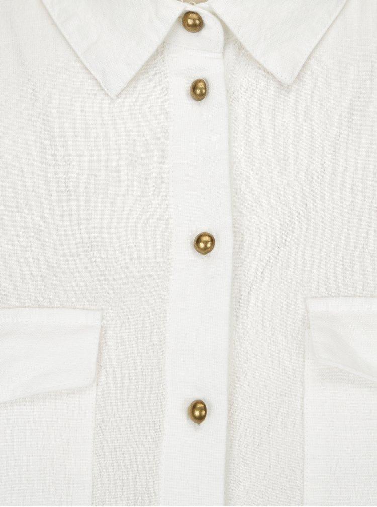 Bílá košile s knoflíky v bronzové barvě Dorothy Perkins Petite