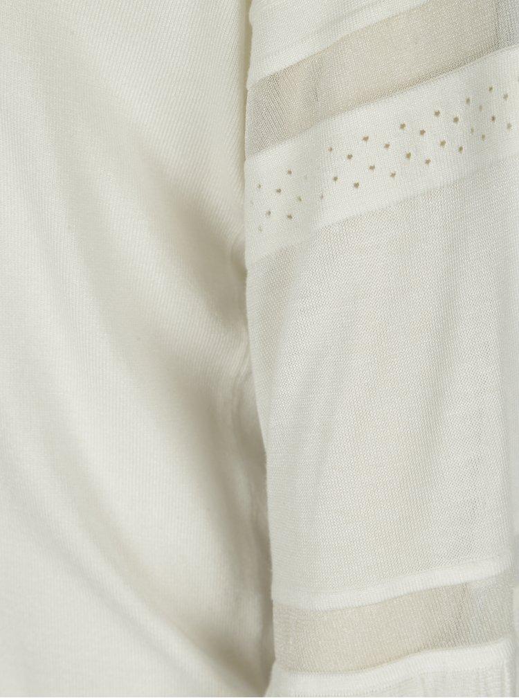 Pulover subtire alb cu maneci clopot si insertii translucide - Dorothy Perkins