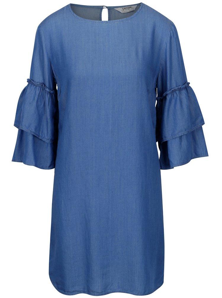 Modré šaty se zvonovým 3/4 rukávem Dorothy Perkins
