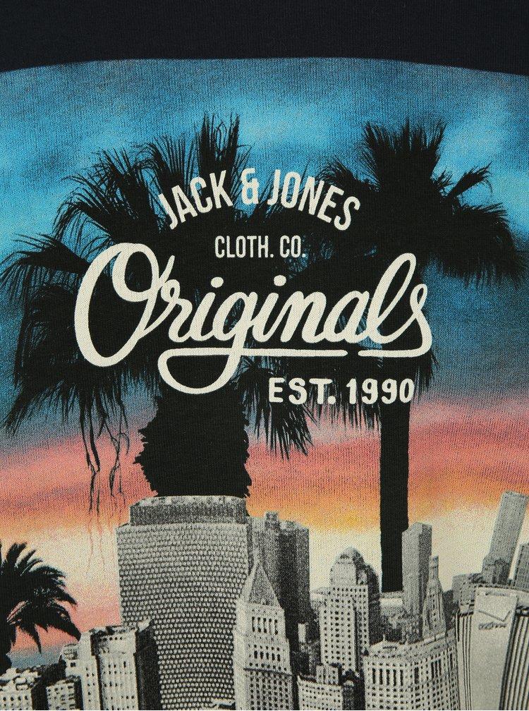 Tmavě modrá mikina s potiskem Jack & Jones Premium Jorword Sweat