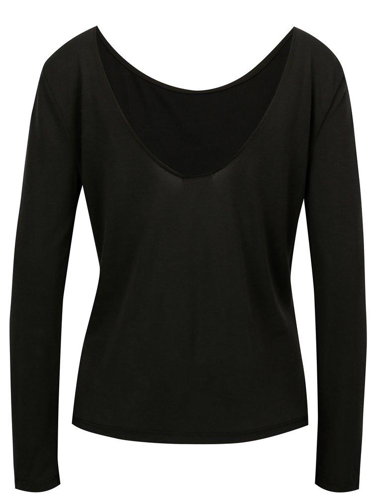 Černé tričko s výstřihem na zádech VILA Nelius