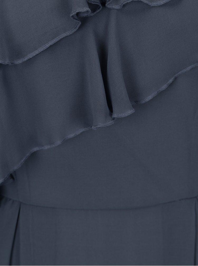 Rochie maxi gri inchis cu volane si bretele subtiri - VILA Rufina