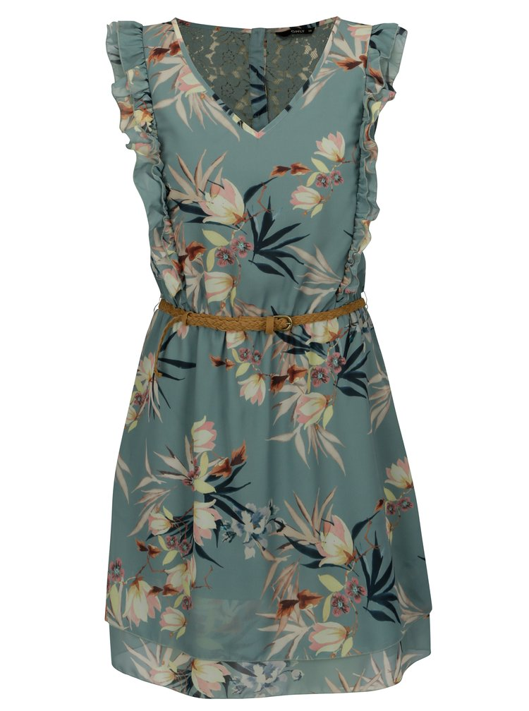 Rochie verde cu print floral si volane - ONLY Libby