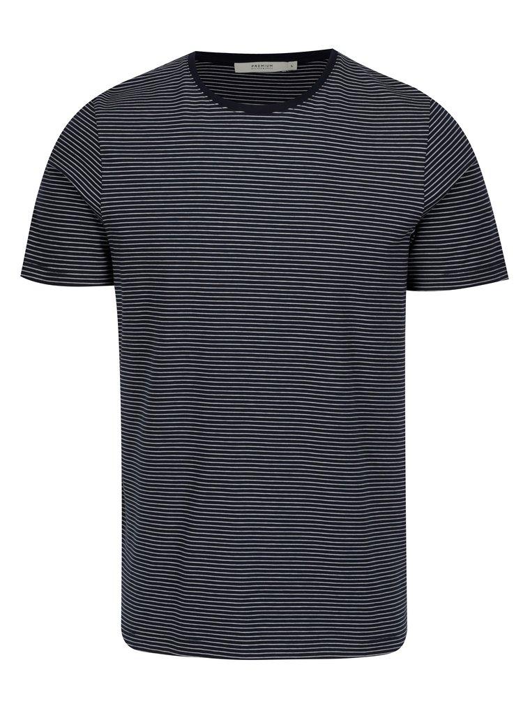 Tmavě modré pruhované tričko Jack & Jones Premium Henry