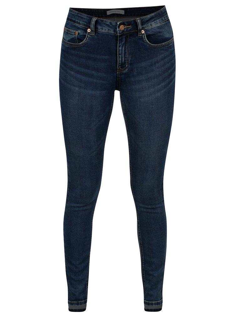 Modré skinny džíny s vyšisovaným efektem Jacqueline de Yong Laura