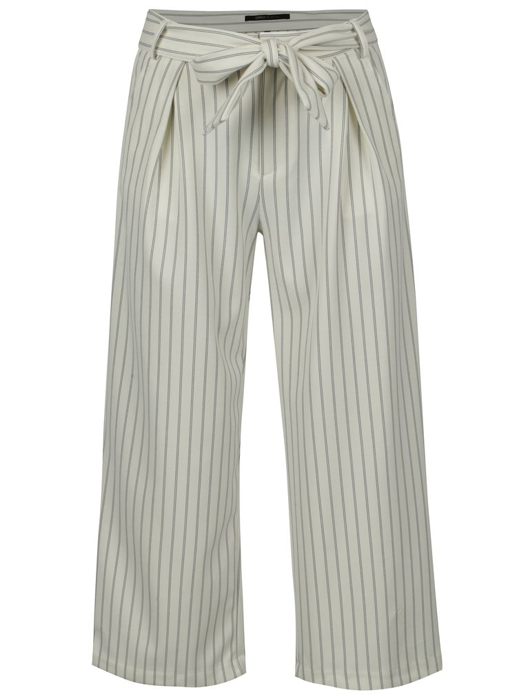 Krémové pruhované culottes s vysokým pasem ONLY Lou