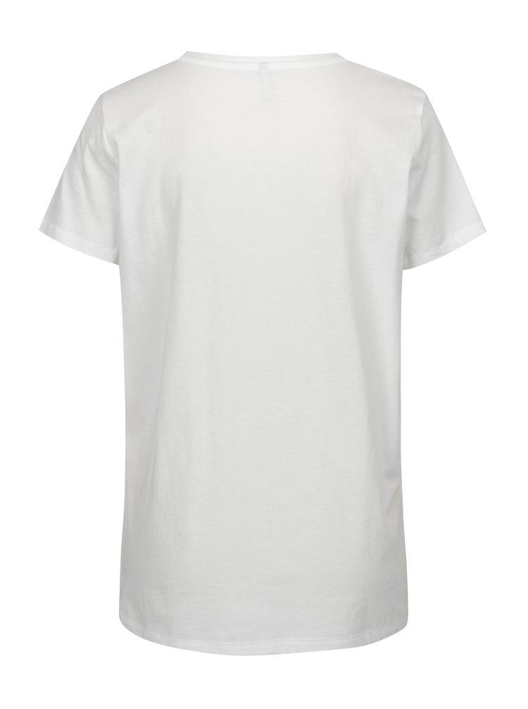 Bílé tričko s výšivkou srdíčka ONLY Nora