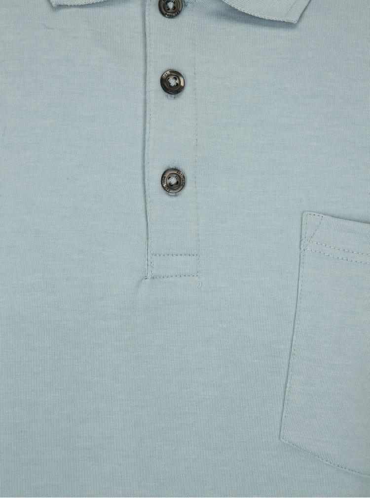 Světle modré dlouhé muscle fit polo tričko Burton Menswear London