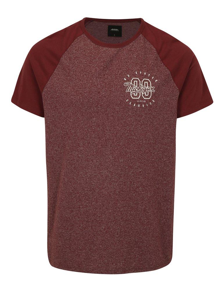 Vínové žíhané tričko s potiskem Burton Menswear London