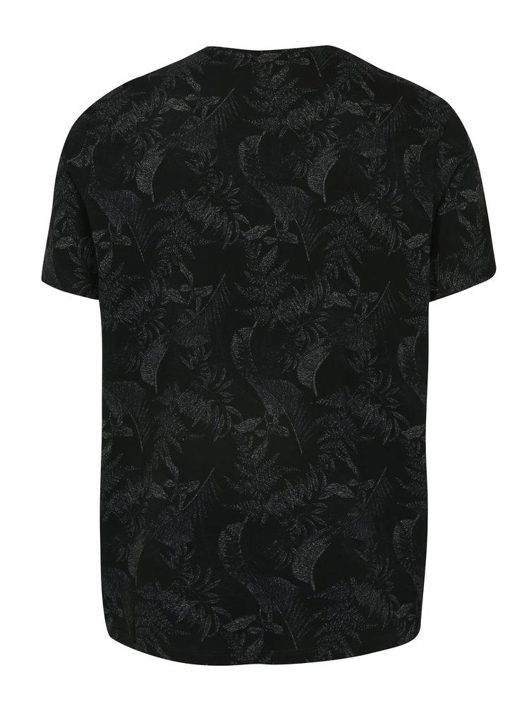 Černé vzorované tričko Burton Menswear London