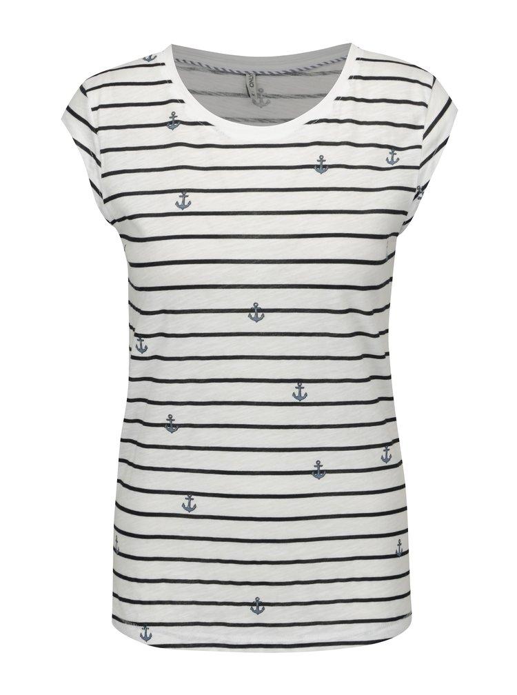 Bílé pruhované tričko s potiskem kotev ONLY Bone