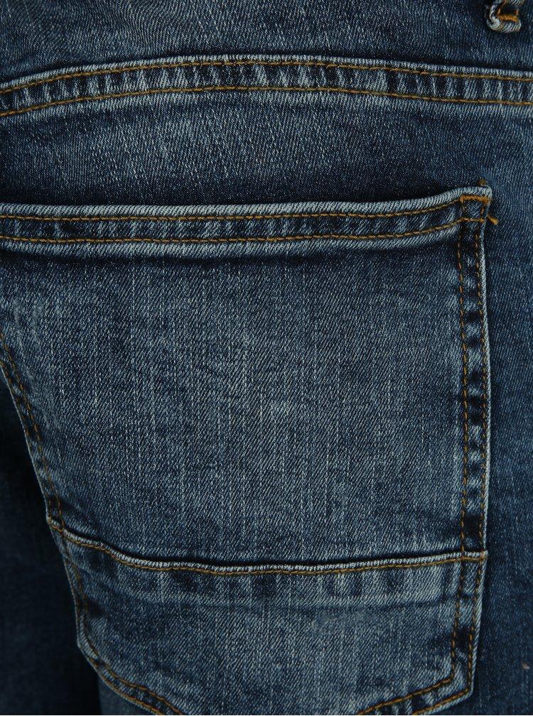 Tmavě modré zkrácené skinny fit džíny s potrhaným efektem Burton Menswear London