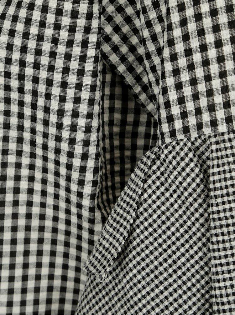 Bluza negru&crem in carouri si cu maneci 3/4 balon - ONLY Freja