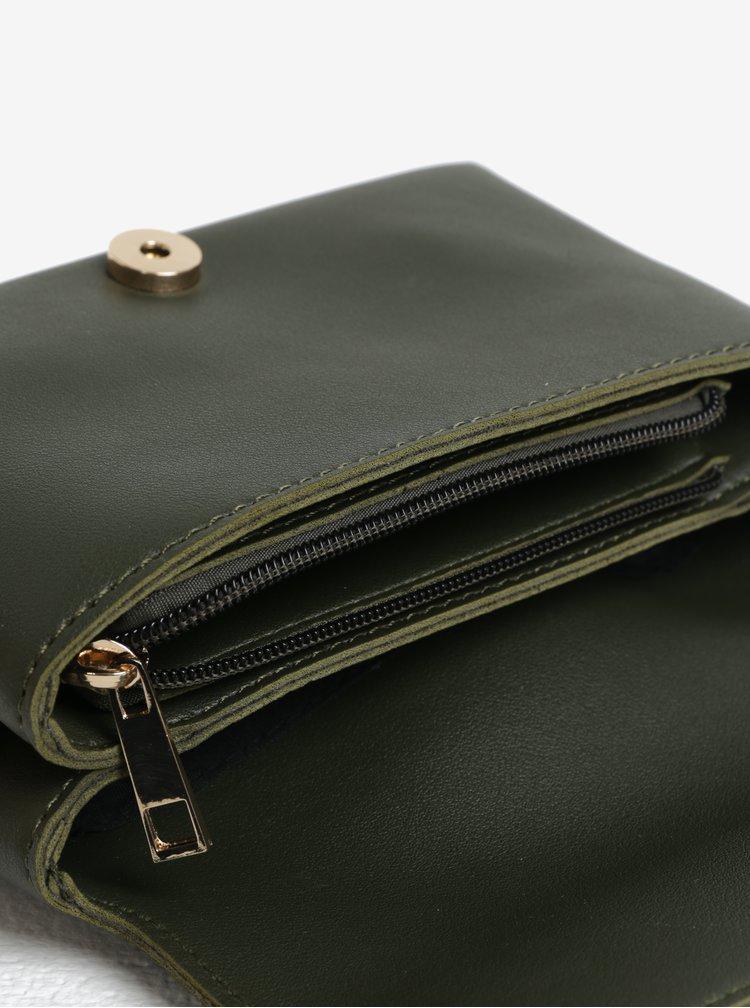 Tmavě zelená crossbody kabelka se sponou ve zlaté barvě ONLY Nimet
