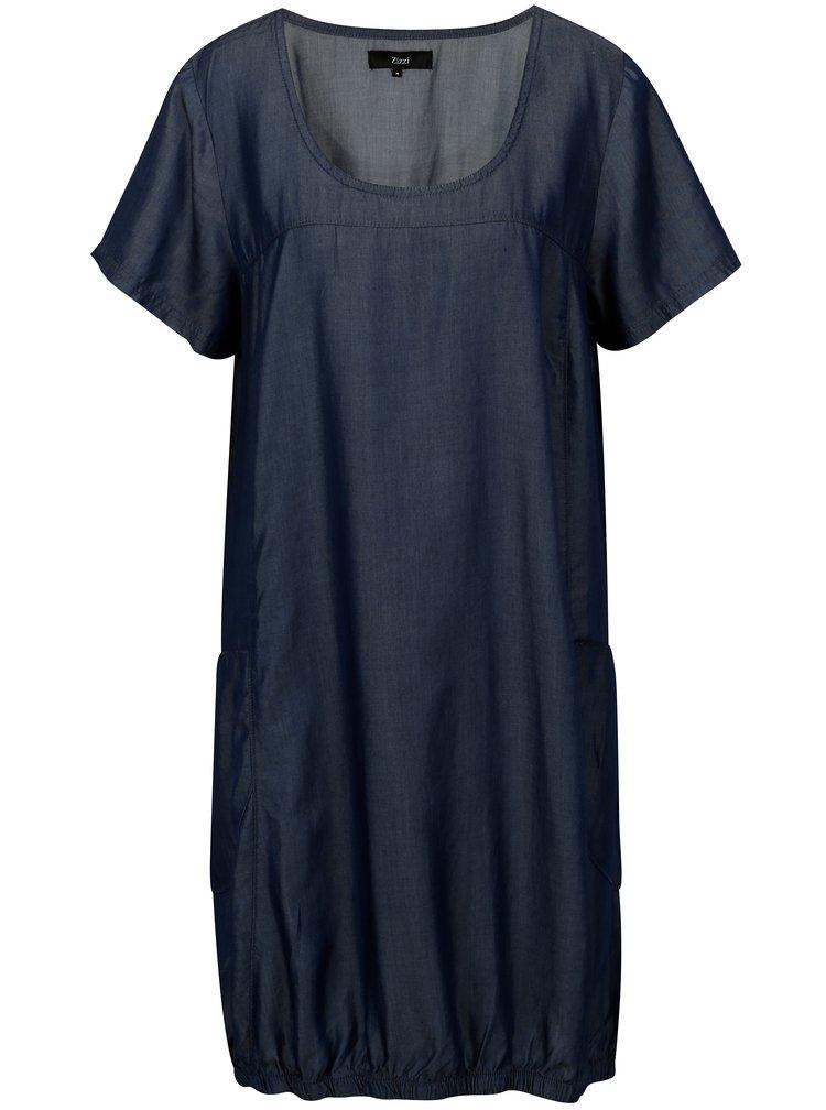 Tmavě modré oversize balónové šaty s kapsami Zizzi