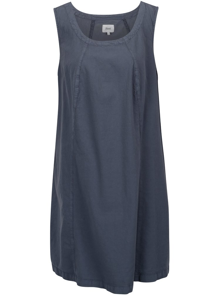 Modré oversize šaty bez rukávů Zizzi