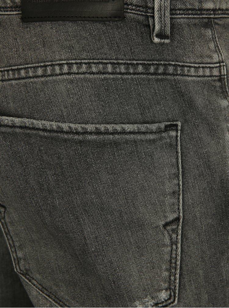 Šedé skinny fit džíny s potrhaným efektem Selected Homme Pete