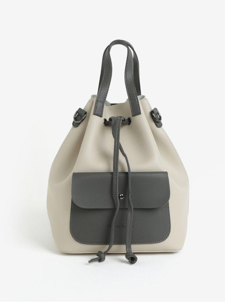 Šedo-béžový batoh/vaková kabelka Claudia Canova Gaya