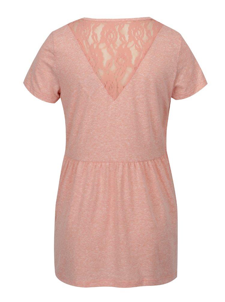 Růžové žíhané kojicí tričko s krajkovými detaily Mama.licious Elenoir