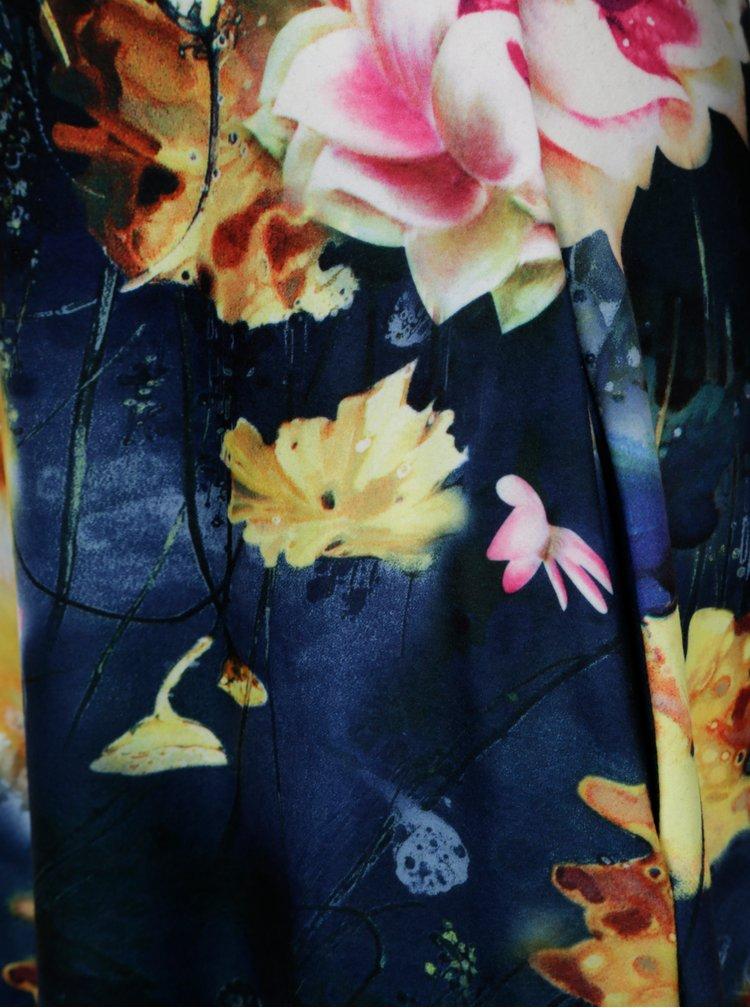 Tmavě modré květované maxišaty s výstřihem na zádech miestni