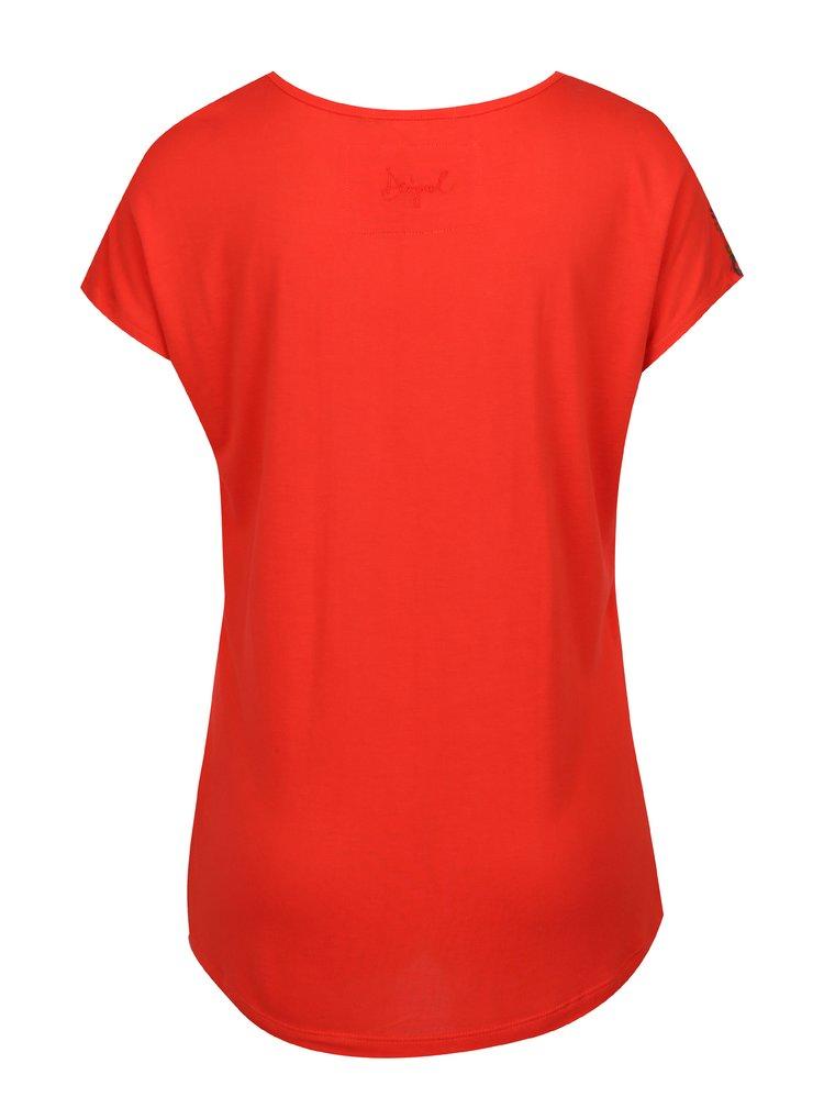 Červené vzorované tričko s krátkým rukávem Desigual Andreus