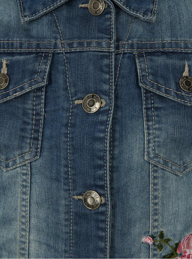 Modrá holčičí džínová bunda s vyšívkou Blue Seven