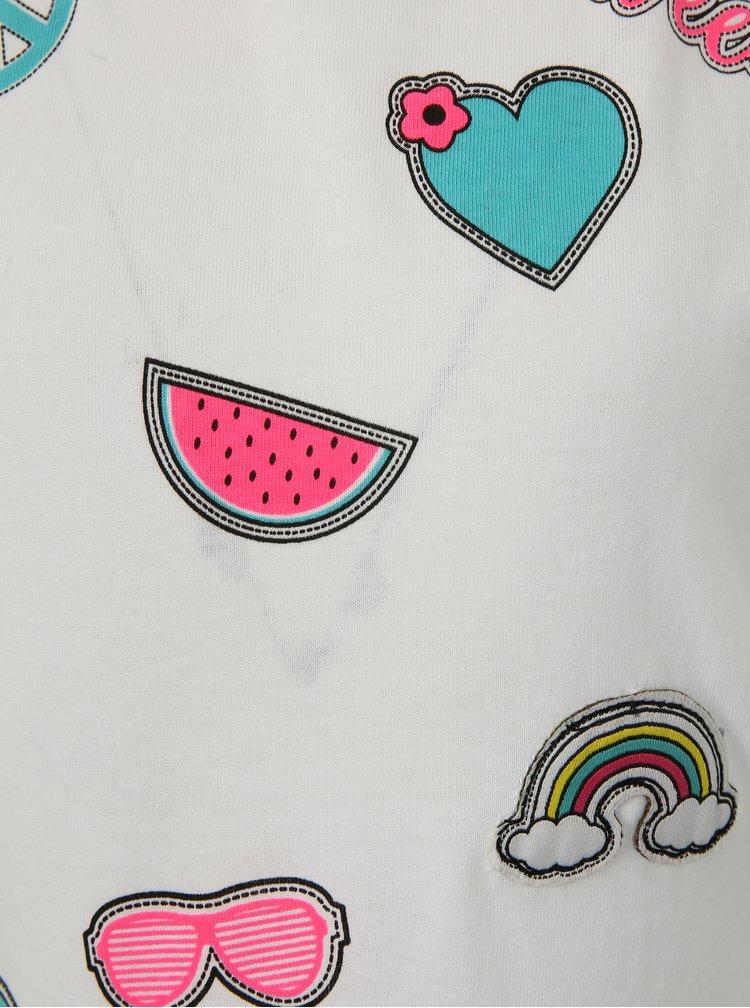 Bílé holčičí tričko s potiskem a nášivkou Blue Seven