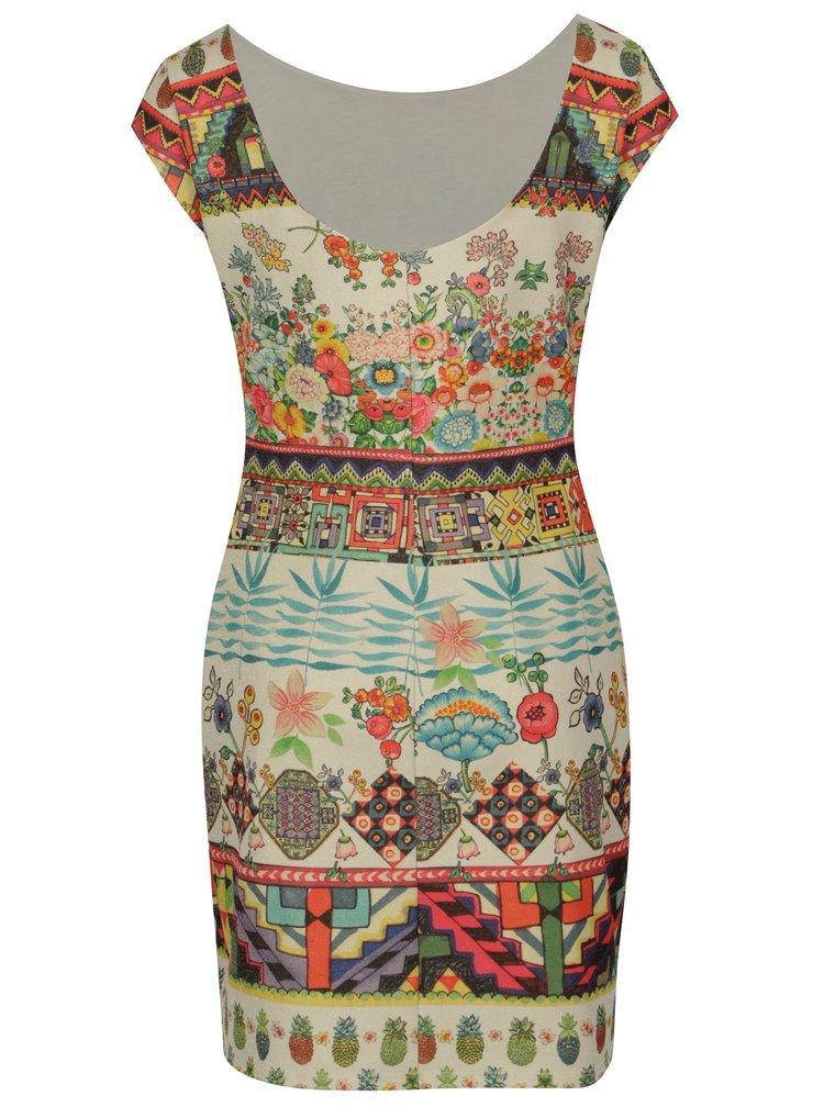 Béžové třpytivé vzorované šaty Desigual Elvira