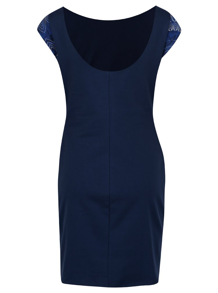 Rochie albastra cu print si maneci scurte - Desigual Corbin