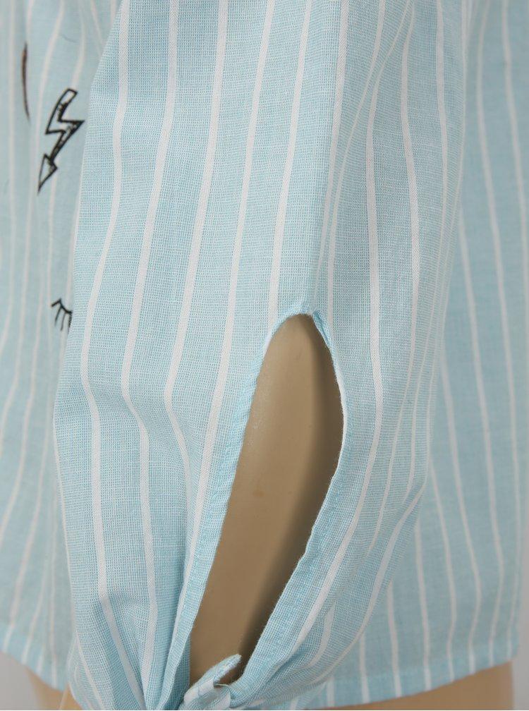 Bílo-modrá pruhovaná halenka s odhalenými rameny Blue Seven