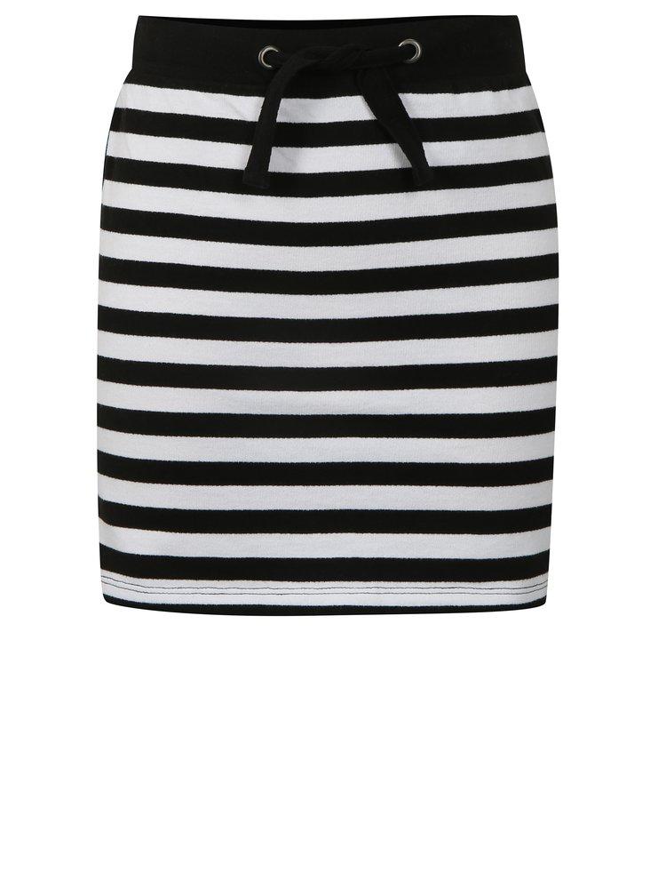 Bílo-černá pruhovaná sukně s flitry na bocích Blue Seven