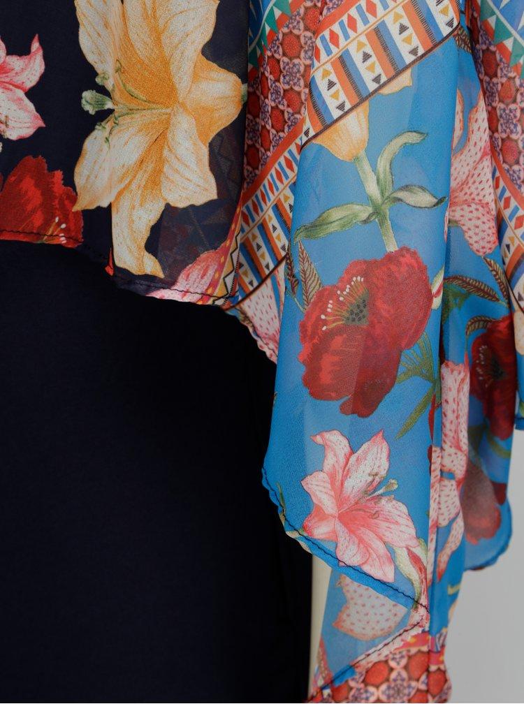 Modré vzorované šaty s volánovým rukávem Desigual Ofelia