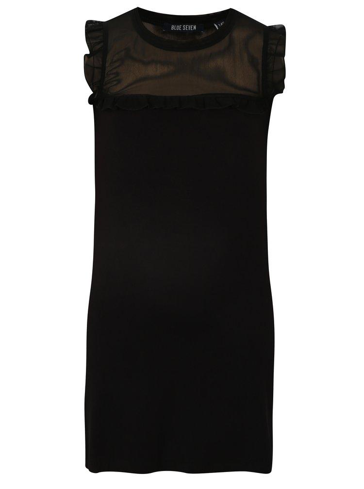 Černé šaty s průsvitným sedlem Blue Seven