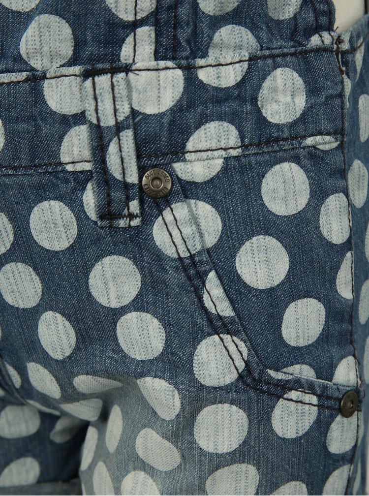 Modré holčičí puntíkované krátké džínové lacláče Blue Seven