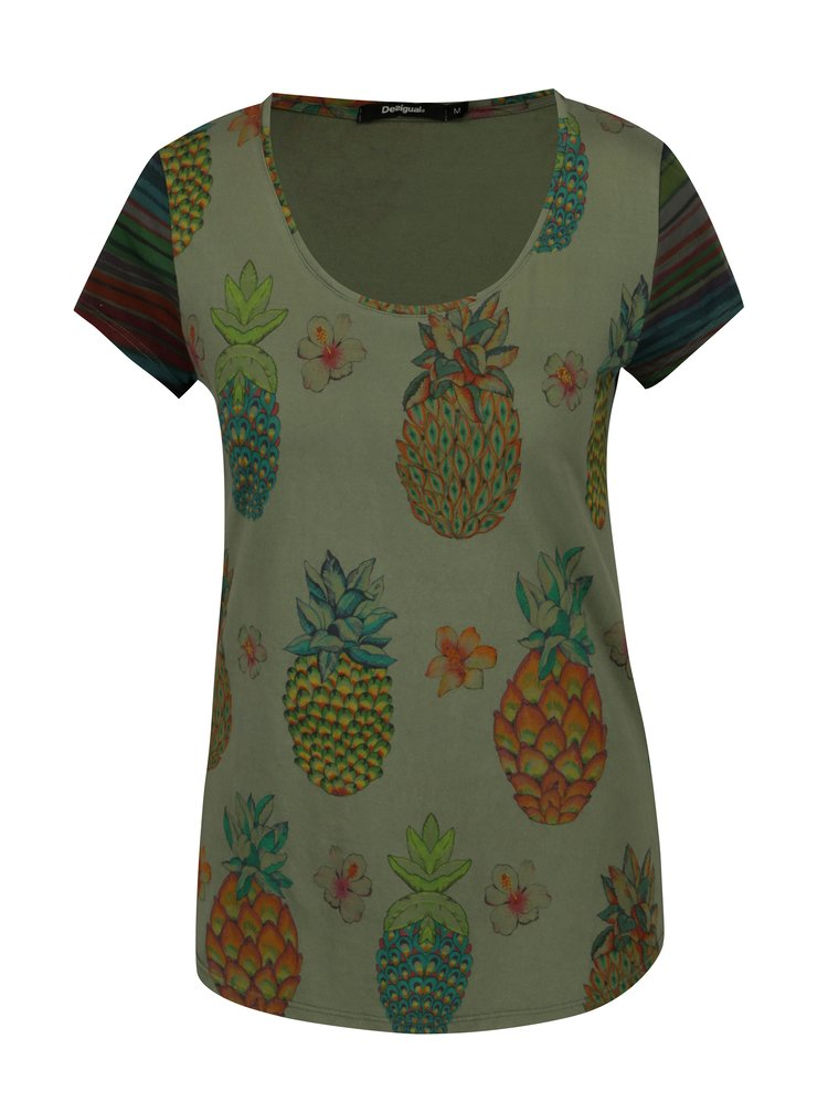 Tricou kaki cu print ananas - Desigual Camille