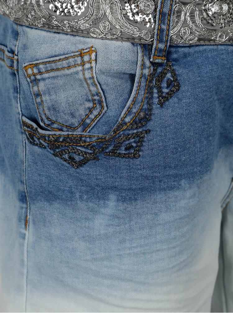 Modré kraťasy s výšivkou Desigual Madisson