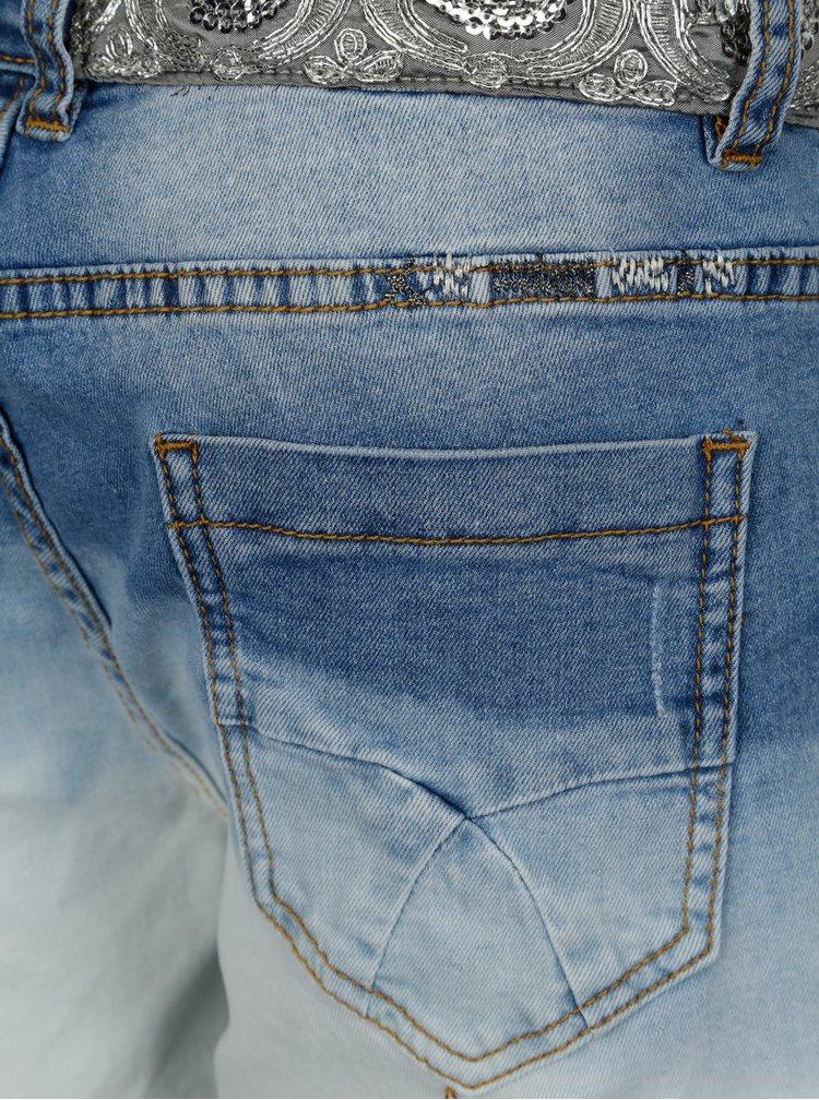 Pantaloni din denim scurti albastri cu broderie si paiete Desigual Madisson