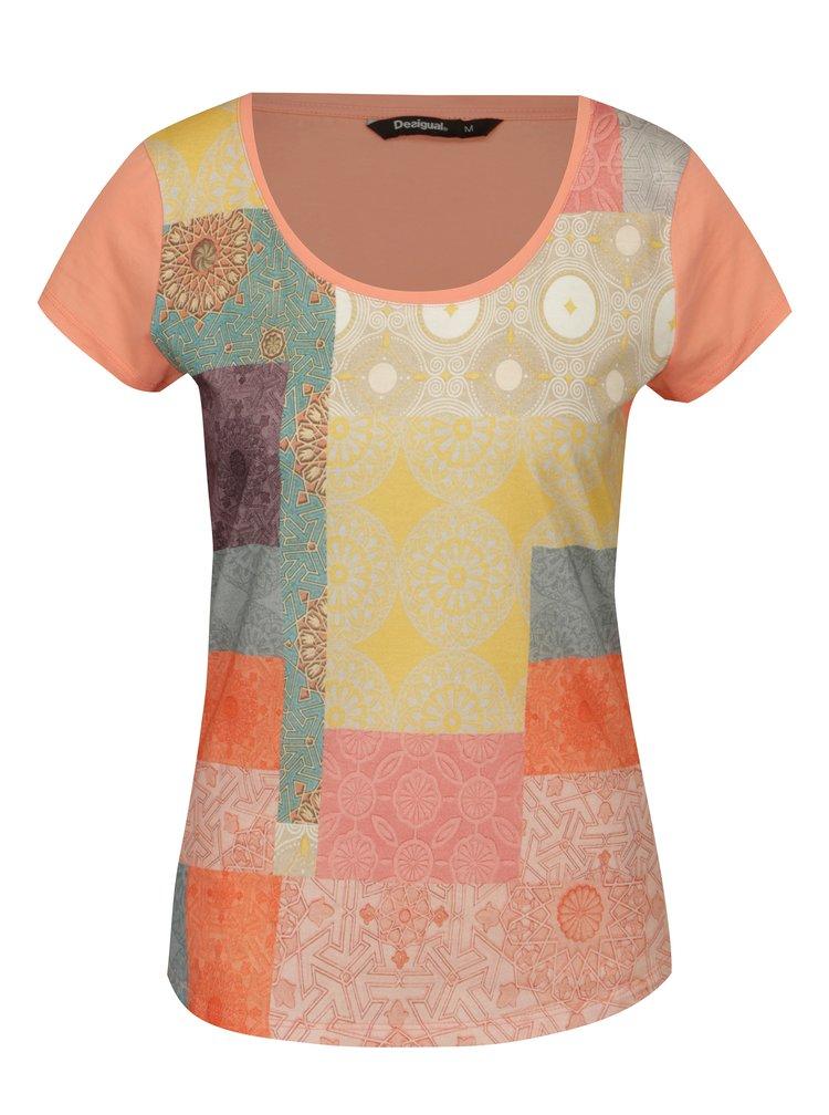 Oranžové vzorované tričko s krátkým rukávem Desigual Helena