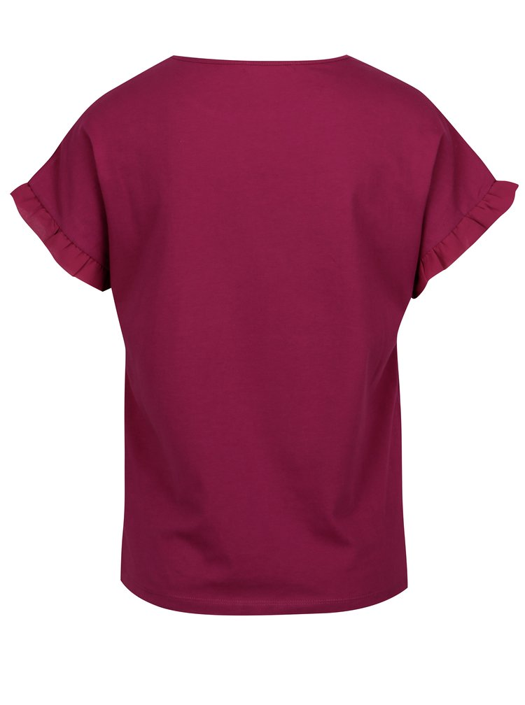 Tricou roz inchis cu aplicatii brodate si volane discrete - Desigual Candice