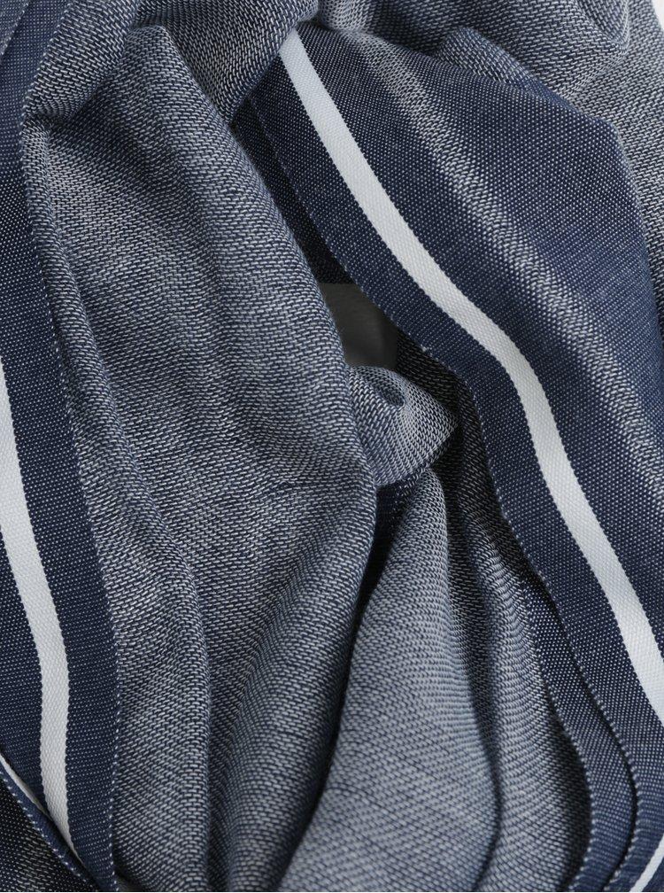 Tmavě modrá lněná pruhovaná lehká šála Blend
