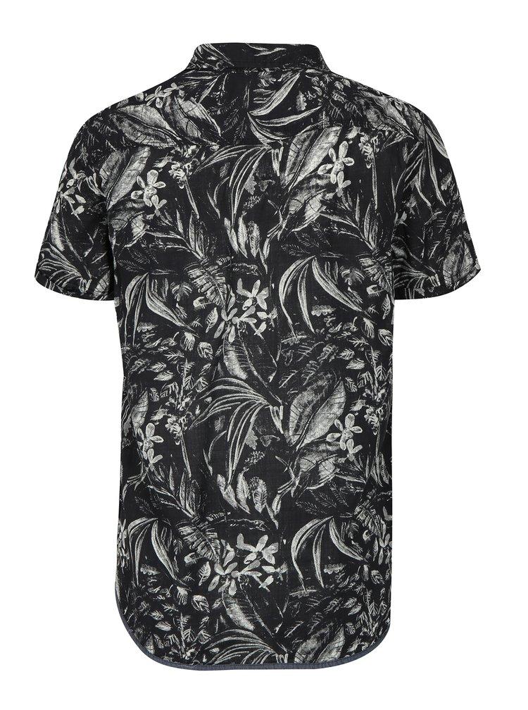 Camasa slim fit negru & crem cu print frunze - Blend