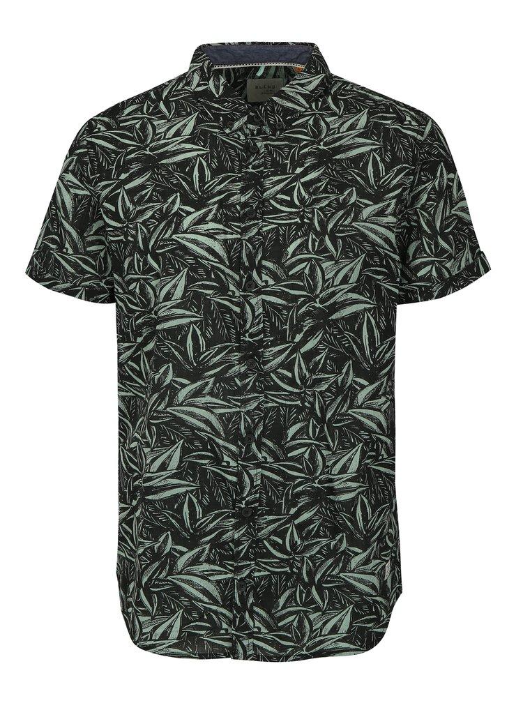 Zeleno-černá vzorovaná slim fit košile s krátkým rukávem Blend