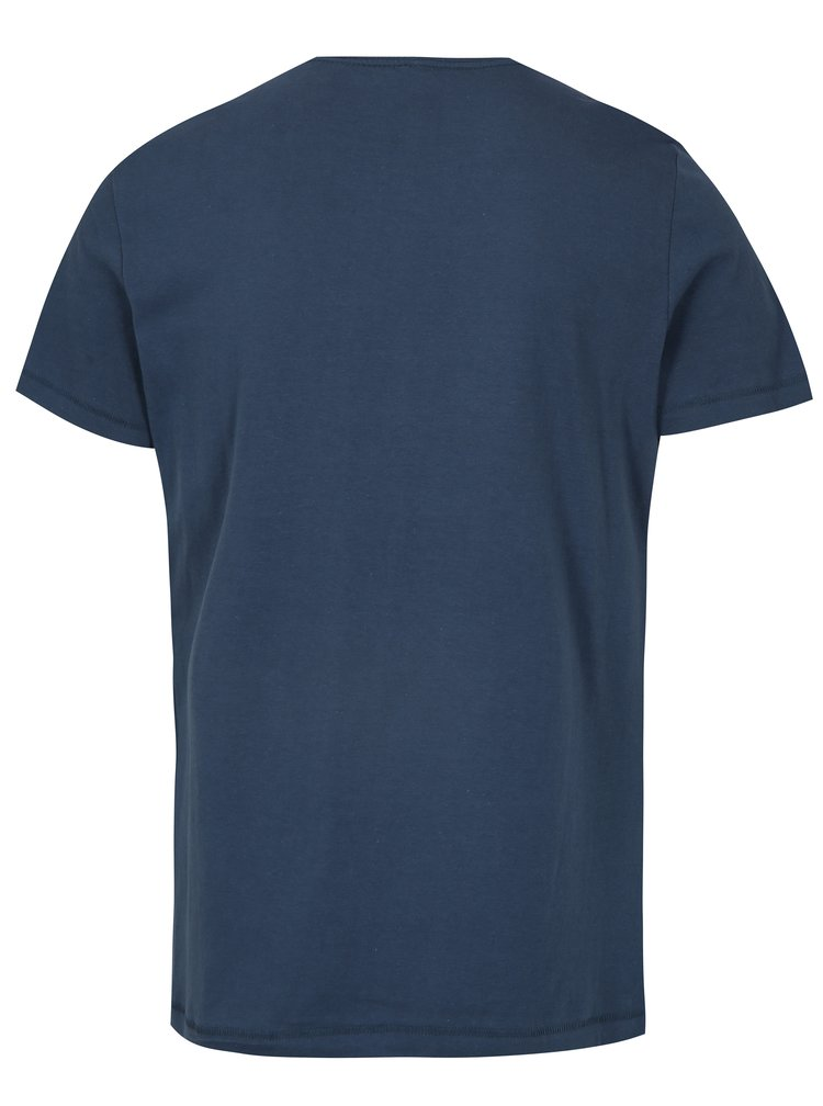 Tricou bleumarin slim fit cu print - Blend