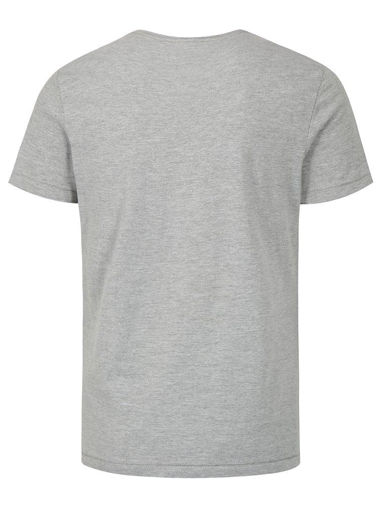 Světle šedé žíhané slim fit tričko s potiskem a krátkým rukávem Blend