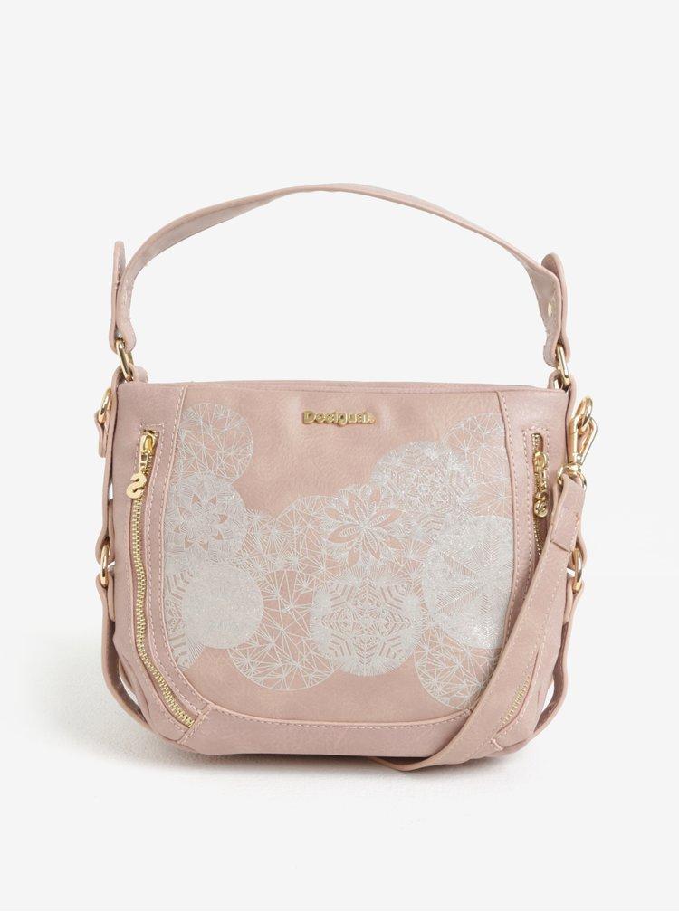 Světle růžová crossbody kabelka s potiskem Desigual Zoe Marteta Mini